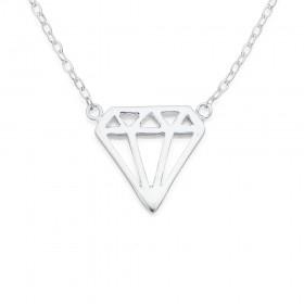 Sterling-Silver-Diamond-Shape-Necklet on sale