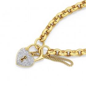 9ct-19cm-Solid-Oval-Belcher-Bracelet-with-Diamond-Padlock on sale