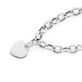 19cm-Sterling-Silver-Belcher-Bracelet-with-Heart-Disc on sale