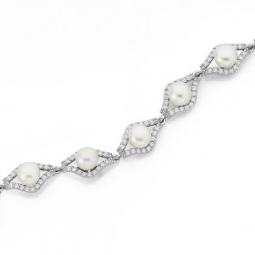 Sterling-Silver-Freshwater-Pearl-Cubic-Zirconia-Bracelet on sale