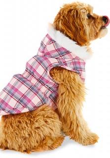 Bond-Co-Hooded-Faux-Fur-Plaid-Dog-Jacket-Pink on sale