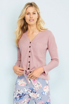 Mia-Lucce-Waffle-Long-Sleeve-Button-Top on sale