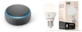 Amazon-Echo-Dot-with-Alexa-3rd-Gen-LIFX-E27-Smart-Bulb on sale