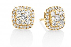 Cluster-Stud-Earrings-with-1-Carat-TW-of-Diamonds-in-10ct-Yellow-Gold on sale