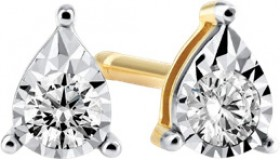 NEW-Pear-Stud-Earrings-with-010ct-TW-Diamonds-in-10ct-Yellow-Gold on sale