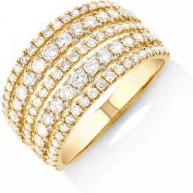 NEW-Multi-Row-Ring-with-150-Carat-TW-Diamond-in-14ct-Yellow-Gold on sale