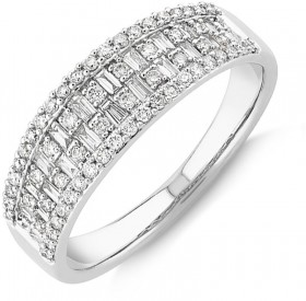 NEW-Multi-Row-Ring-with-050-Carat-TW-Diamond-in-10ct-Yellow-Gold on sale