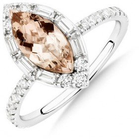NEW-Sir-Michael-Hill-Designer-Marquise-Engagement-Ring-with-Morganite-050-Carat-TW-of-Diamonds-in-18ct-White-Gold on sale