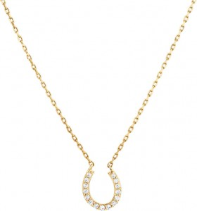 NEW-Horseshoe-Necklace-with-010-Carat-TW-of-Diamonds-in-10ct-Yellow-Gold on sale