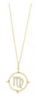 NEW-Virgo-Zodiac-Pendant-with-020-Carat-TW-of-Diamonds-in-10ct-Yellow-Gold on sale