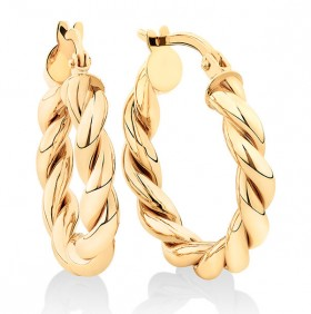 NEW-15mm-Braid-Twist-Hoop-in-10ct-Yellow-Gold on sale