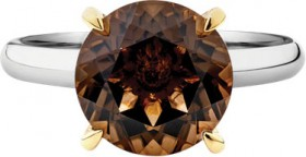 NEW-10mm-Smokey-Quartz-Ring-in-Sterling-Silver-10ct-Yellow-Gold on sale