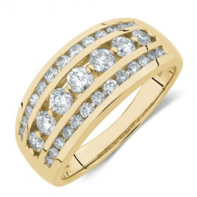 Three-Row-Ring-with-1-Carat-TW-of-Diamond-in-10ct-Yellow-Gold on sale