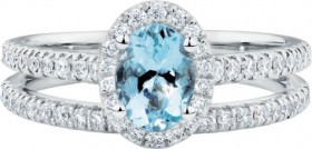 Bridal-Set-with-050-Carat-TW-of-Diamonds-Aquamarine-in-14ct-White-Gold on sale