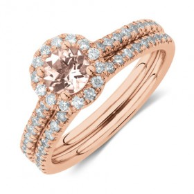 Evermore-Bridal-Set-with-Morganite-054-Carat-TW-of-Diamonds-in-14ct-Rose-Gold on sale