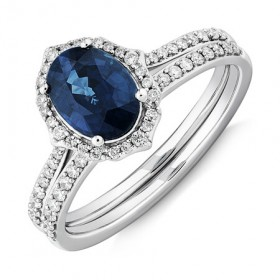 Sapphire-030-Carat-TW-of-Diamonds-Bridal-Set-in-14ct-White-Gold on sale