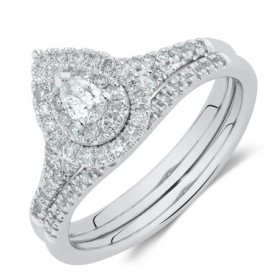 Evermore-Bridal-Set-with-060-Carat-TW-of-Diamonds-in-10ct-White-Gold on sale