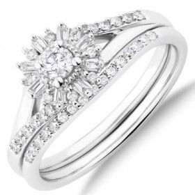 Bridal-Set-with-038-Carat-TW-Of-Diamonds-in-10ct-White-Gold on sale