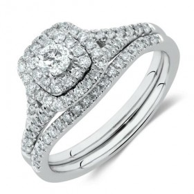 Bridal-Set-with-060-Carat-TW-of-Diamonds-in-10ct-White-Gold on sale