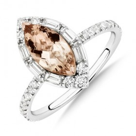 Sir-Michael-Hill-Designer-Marquise-Engagement-Ring-with-Morganite-050-Carat-TW-of-Diamonds-in-18ct-White-Gold on sale