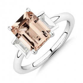 NEW-Sir-Michael-Hill-Designer-Emerald-Cut-Engagement-Ring-with-Morganite-048-Carat-TW-of-Diamonds-in-18ct-White-Gold on sale