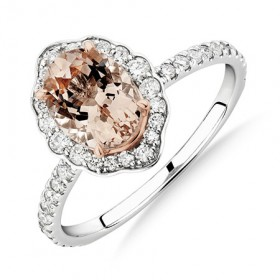 Sir-Michael-Hill-Designer-Engagement-Ring-with-Morganite-040-Carat-TW-of-Diamonds-in-18ct-White-Gold on sale