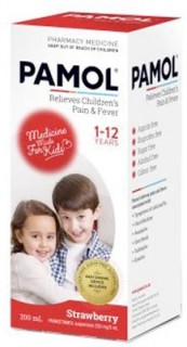 Pamol-All-Ages-Strawberry-Colour-Free-200mL on sale