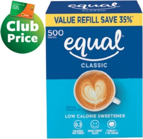 Equal-Sweetener-Tablets-Refill-500s on sale