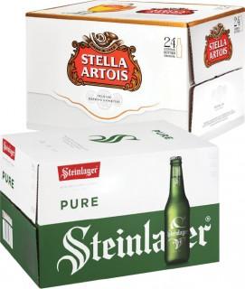 Steinlager-Pure-or-Stella-Artois-Bottles-24-Pack on sale