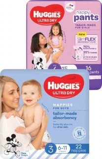 Huggies-Convenience-Pack-Ultra-Dry-Nappies-14-28-Pack-or-Nappy-Pants-16-20-Pack on sale