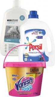 Persil-or-Ecostore-Laundry-Liquid-4L-or-Vanish-Gold-Bucket-27kg on sale