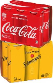 Coca-Cola-Range-or-Schweppes-Range-6-x-250ml-Cans on sale