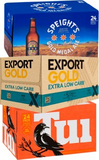 Speights-Summit-or-Gold-Medal-Lion-Red-Waikato-Draught-Export-Gold-or-Extra-Low-Carb-or-Tui-24-x-330ml-Bottles on sale