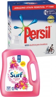Persil-Laundry-Powder-4kg-or-Surf-Laundry-Liquid-4L on sale