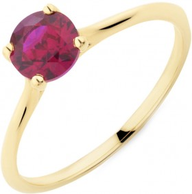 Ring-with-Created-Ruby-in-10ct-Yellow-Gold on sale