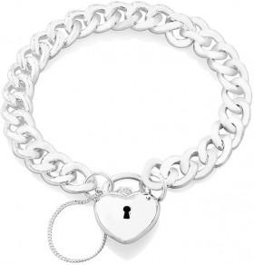 NEW-19cm-Heart-Padlock-Curb-Bracelet-in-Sterling-Silver on sale