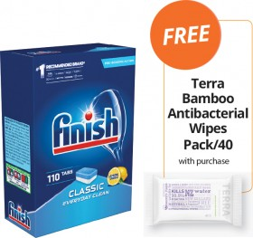 Finish-Classic-Dishwashing-Tablets-FREE-TERRA-BAMBOO-ANTIBACTERIAL-WIPES-PACK40-WITH-PURCHASE on sale