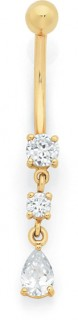 9ct-Cubic-Zirconia-Belly-Bar on sale