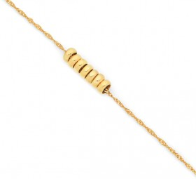 9ct-Gold-25cm-Seven-Lucky-Rings-Anklet on sale